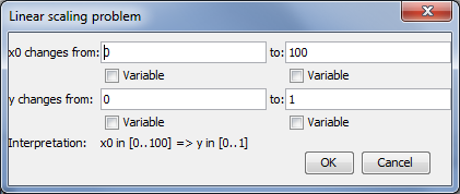 Linear scaling problem dialog
